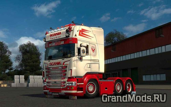 Scania R & Streamline (RJL) White & Red Skin + Accessory  [ETS2]