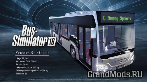 Новый автобус Mercedes-Benz Citaro для Bus Simulator 16