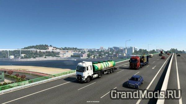 Португальский город Порто в DLC Iberia ETS2